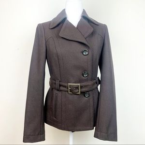 Benetton Wool Blend Trench Short Coat Brown size 6
